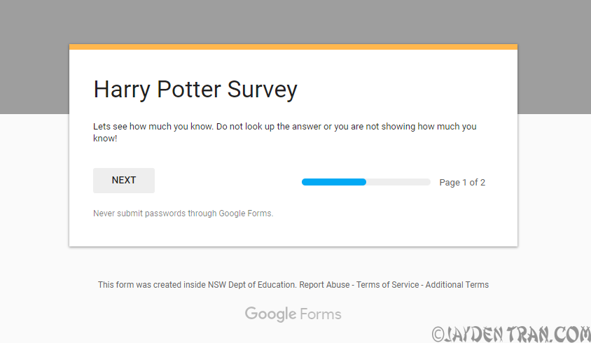 Jayden Tran Harry Potter Survey